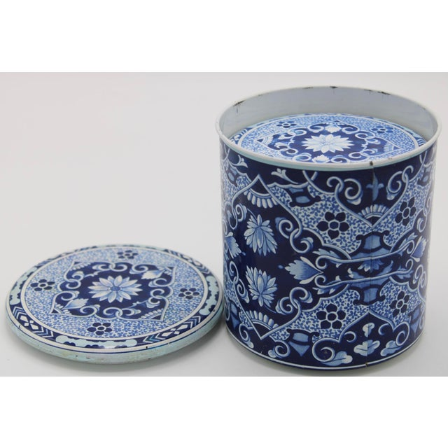 Danish Modern Floral Blue and White Delft Tole Lidded Nesting Canisters - a Pair For Sale - Image 3 of 12