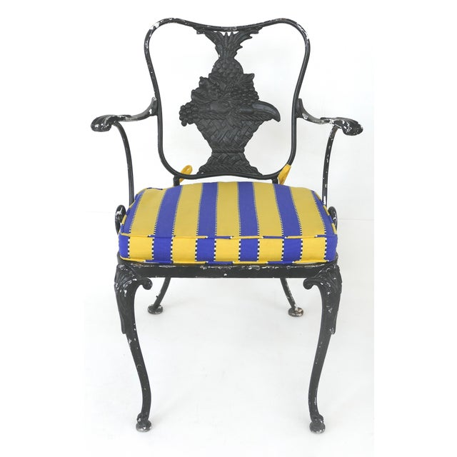 Shabby Chic Wrought Iron Vintage Shabby Chic Garden Armchairs With Loose Seat Cushions, Pair For Sale - Image 3 of 10