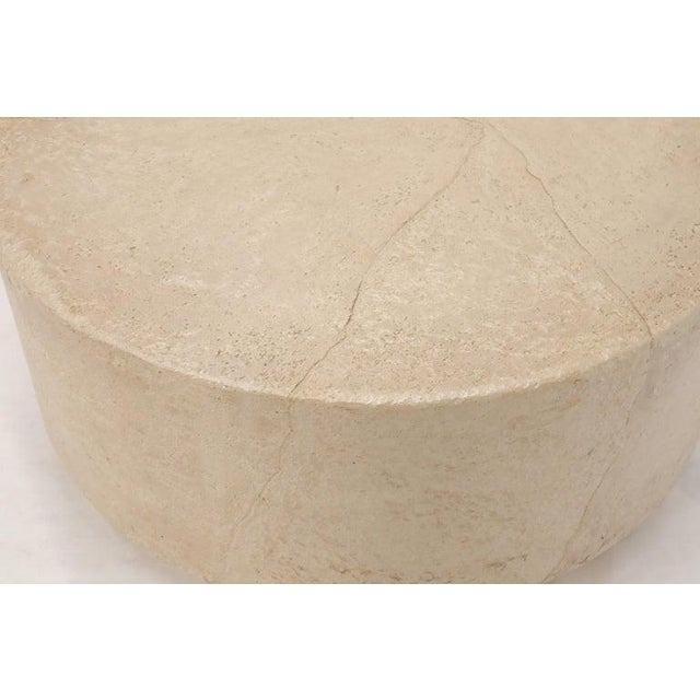 White Round Cylinder Coffee Center Table Textured Pearl Faux Skin Finish For Sale - Image 8 of 10