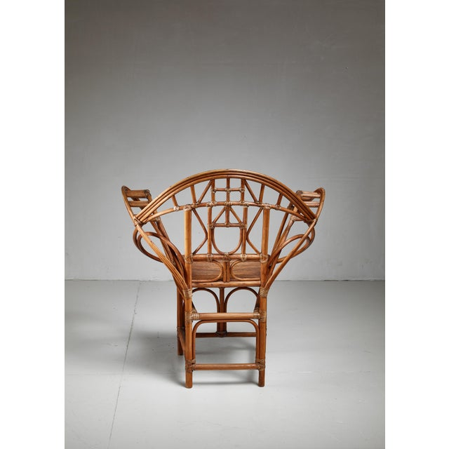 Curved hand-crafted willow chair, Austria For Sale - Image 4 of 7
