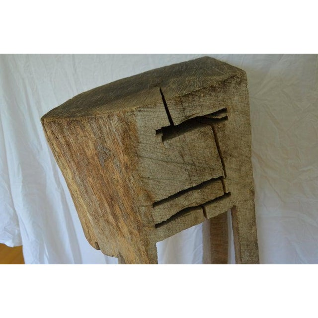 Primitive Chopping Butcher Block With Knife Slots Carved From Fallen Maple Tree For Sale In Madison - Image 6 of 12