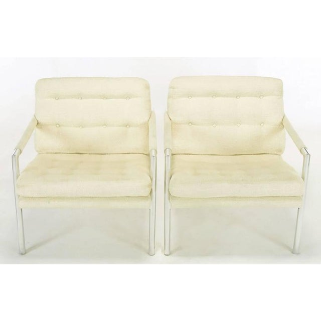 Pair of Polished Aluminum & Linen Lounge Chairs in the Manner of Harvey Probber - Image 2 of 9