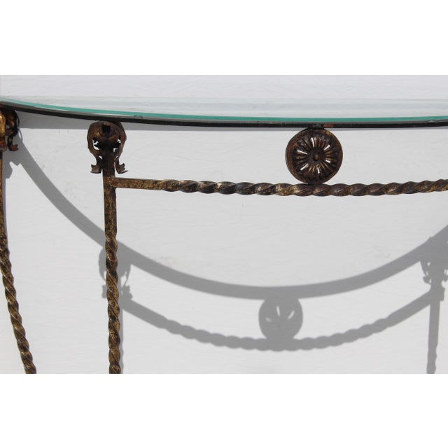 1920's Italian Glass Top Gold Leaf Painted Wrought Iron Demi-Lune Accent Table For Sale - Image 4 of 11