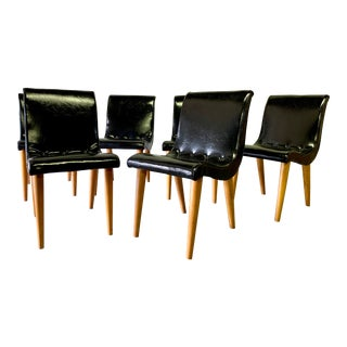 Mid Century Modern Scoop Dining Chairs by Russel Wright for Conant Ball, Set of 6 For Sale