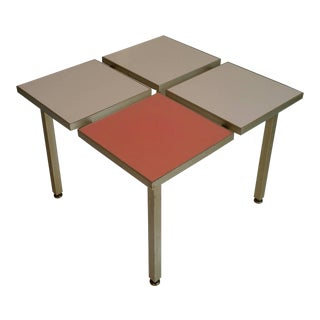Mid-Century Modern Aluminum and Laminate Four-Square Table For Sale