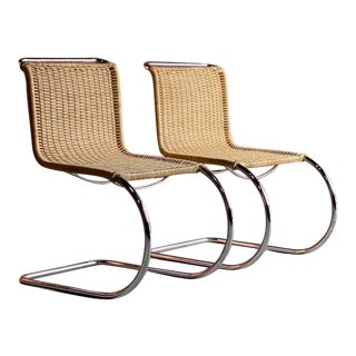 1970s Mies Van Der Rohe Mr10 Rattan Cantilever Chairs by Knoll - a Pair