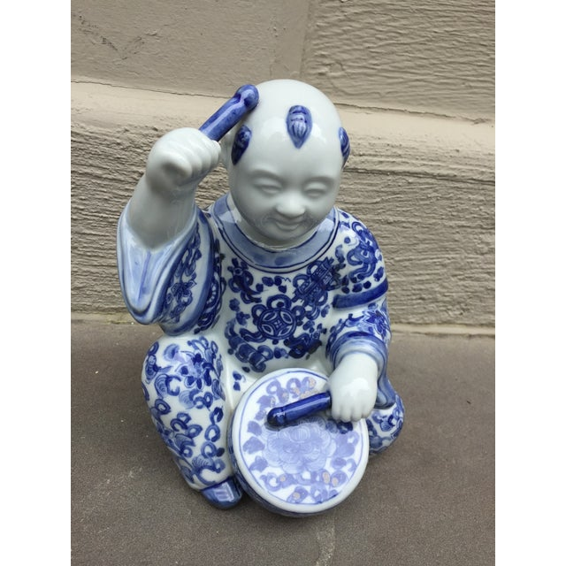1970's Chinoiserie Blue and White Porcelain Sculpture Baby Buddha With Drum For Sale - Image 9 of 9