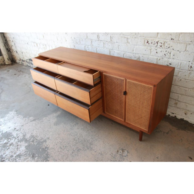 Kipp Stewart for Calvin Mid-Century Modern Walnut and Cane Dresser or Credenza For Sale - Image 9 of 13