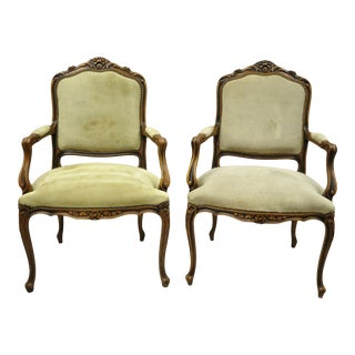 Pair Vintage French Provincial Louis XV Style Italian Arm Chairs by Chateau d'Ax For Sale