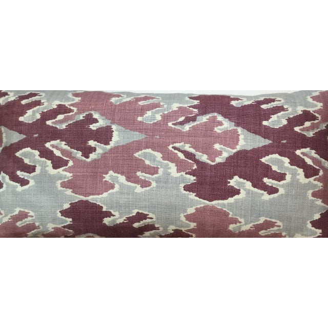 Purple & Gray Linen Ikat Pillow - Image 5 of 7