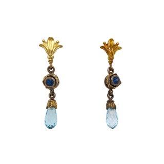 Designer 18k Gold Sterling Silver Blue Topaz Earrings For Sale