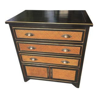 Chinese Ebonized Chest With Rattan Fronts