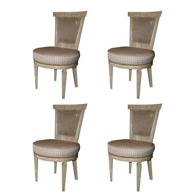 Set of Four White Painted Cane Back Chairs Stamped Jansen For Sale - Image 10 of 10