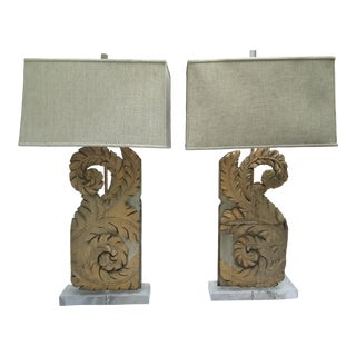 French 18th-C. Fragments Made Into Lamps, Pair For Sale