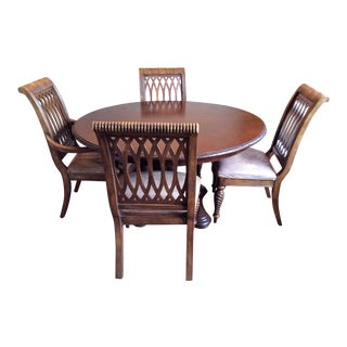 Bernhardt 5 Piece Dining Table Set With Distressed Leather Chairs - Dining Set