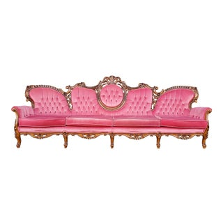 Vintage Victorian French Baroque Carved Wood Pink / Red Velvet Sofa For Sale