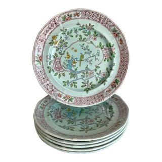 Vintage Calyxware Singapore Bird English Ironstone Plates - Set of 6 For Sale