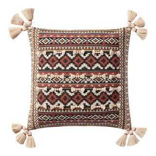 """Justina Blakeney X Loloi Jacquard Woven Accent Pillow with Tassels, Rust / Multi - 18"""" x 18"""" Cover with Down Pillow For Sale"""