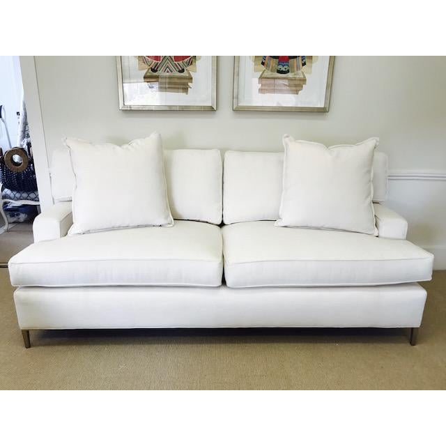 "Gorgeous 80"" sofa with loose boxed back cushions, track arm and T-shape set cushions by The MT Company Sleek brass legs..."