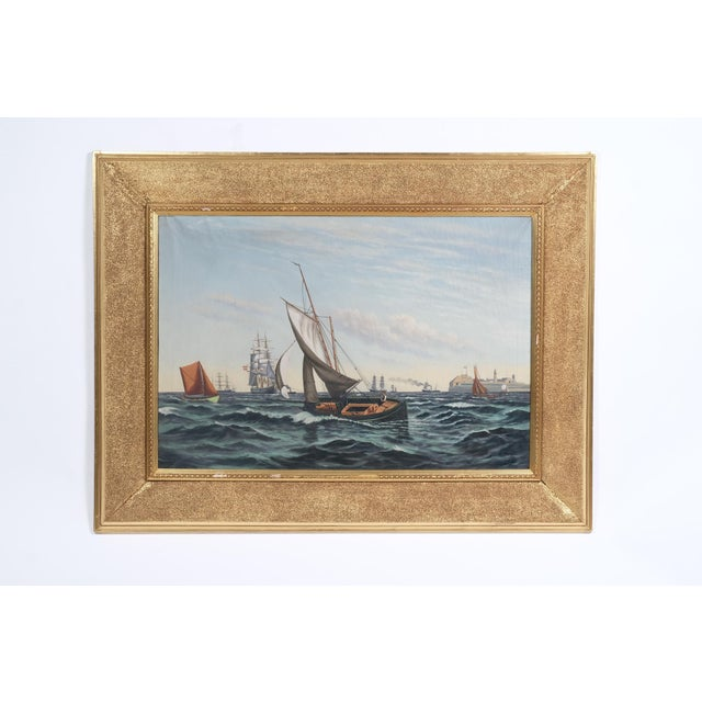 """Mid 20th Century """"Ships Coming to Harbor"""" Seascape For Sale - Image 5 of 5"""