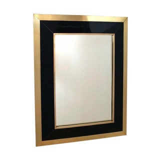 Rectangular Brass and Black Lacquer Wall Mirror, French, 1970s For Sale