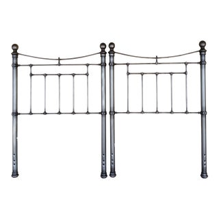 Antique Style Iron Bed Headboards - a Pair For Sale