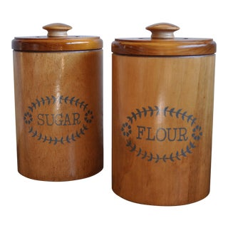 1960s Oak Kitchen Canisters- a Pair For Sale