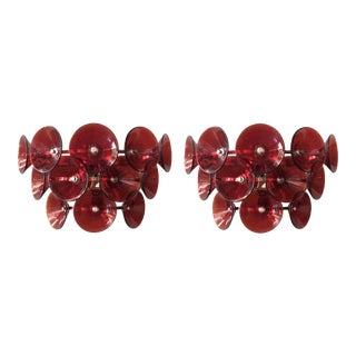 Mid 20th Century Vintage Red Trumpets Sconces by Fabio Ltd. - a Pair For Sale