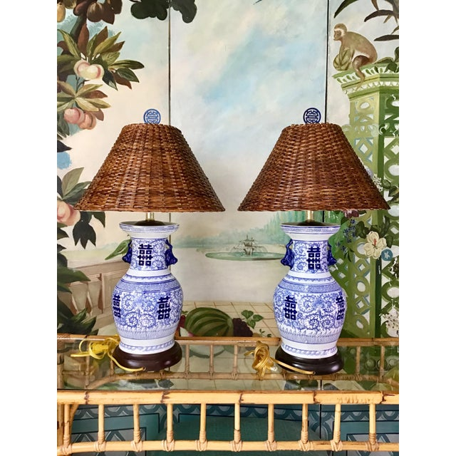 Wildwood Wildwood Blue and White Double Happiness Lamps - a Pair For Sale - Image 4 of 8