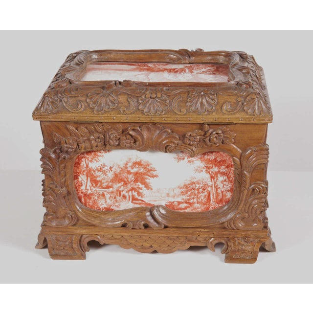19th Century French Carved & Hand-Painted Pastoral Scenes Tile Jewelry Box - Image 5 of 9