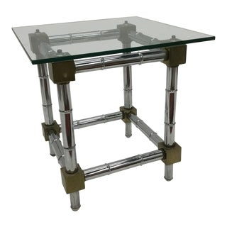 1970s Mid Century Modern Chrome and Brass Faux Bamboo Side Table For Sale