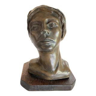 Mid-Century Signed Abstract Bust of a Woman For Sale
