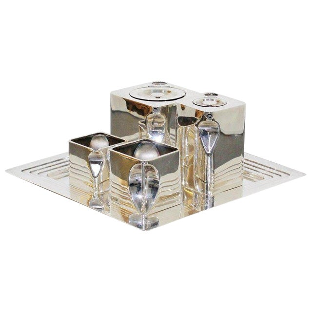 Art Deco Metal 5-Piece Cube Tea Pot Set Stamped Made in England 1917 For Sale