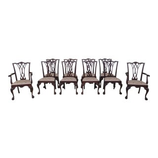 1990's Vintage Drexel Chippendale Mahogany Dining Chairs- Set of 10 For Sale
