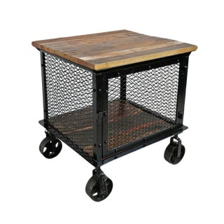 Industrial Iron Caster Side Cabinet For Sale
