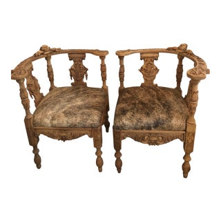 19th Century Vintage Hand Carved Corner Chairs- A Pair For Sale