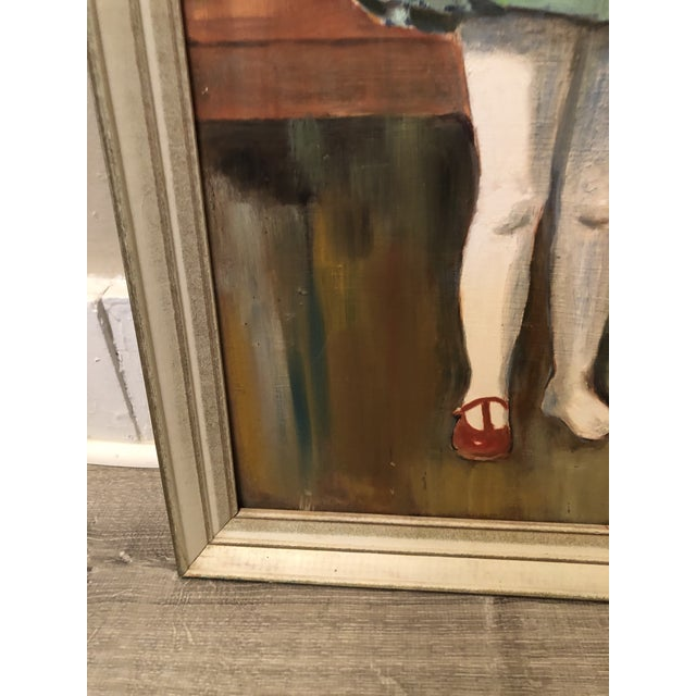 """1960s 1960s """"Girl Holding Shoe"""" Portrait Painting, Framed For Sale - Image 5 of 7"""