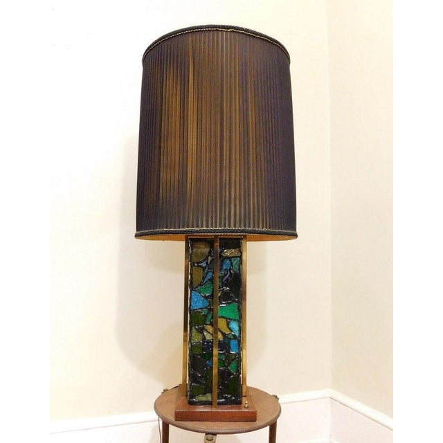 1960's beautiful Brutalist stained glass lamp in excellent condition! Lamp clicks to light up the top, bottom or both at...