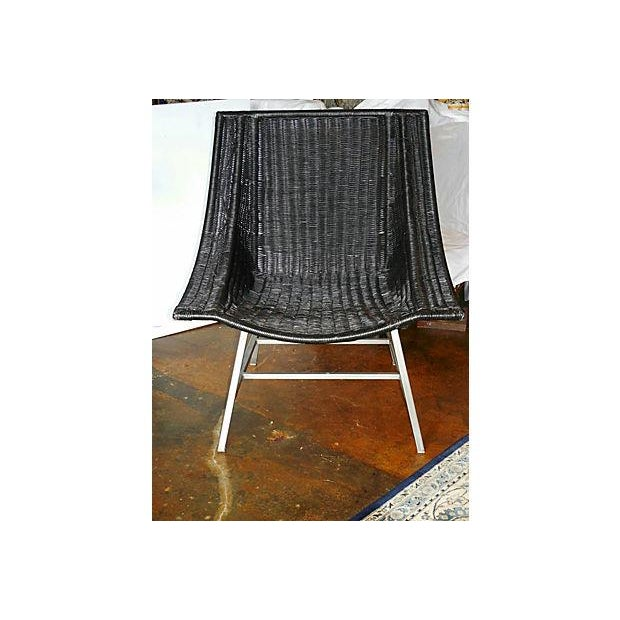 Modernist Wicker & Aluminum Lounge Chair - Image 4 of 6