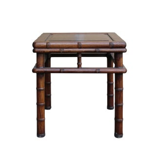 Chinese Brown Huali Rosewood Square Table Stool Chair For Sale