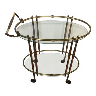 Vintage Modern Oval Brass Bar Cart For Sale