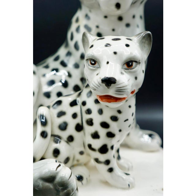 Ceramic Italian Hand-Painted Snow Leopards For Sale - Image 7 of 11