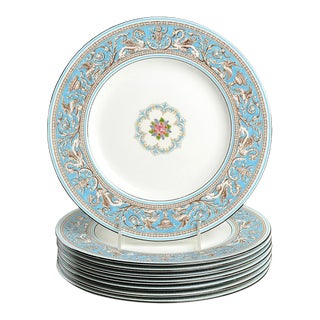 Wedgwood Florentine Turquoise Dinner Plates - Set of 8 For Sale