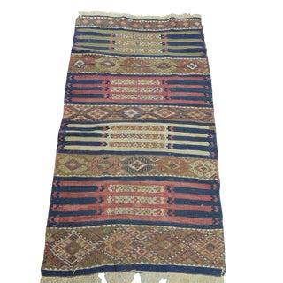 Vintage Red and Blue Kilim Rug For Sale