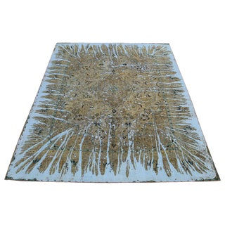 "Modern Overdyed Persian Rug With Retro Acid Wash Design - 9'2"" X 11'11"" For Sale"