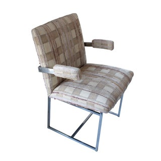 1970s Upholstered Chrome Dining Armchair For Sale