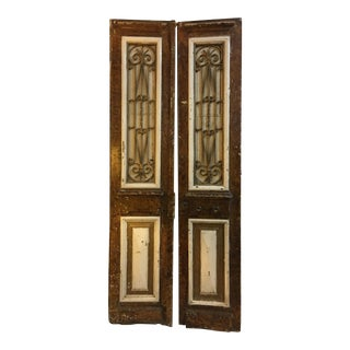 Vintage Wood & Iron Grill Turkish Doors - A Pair For Sale
