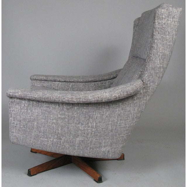 1950s Danish High Back Swivel Lounge Chairs - a Pair For Sale - Image 4 of 13
