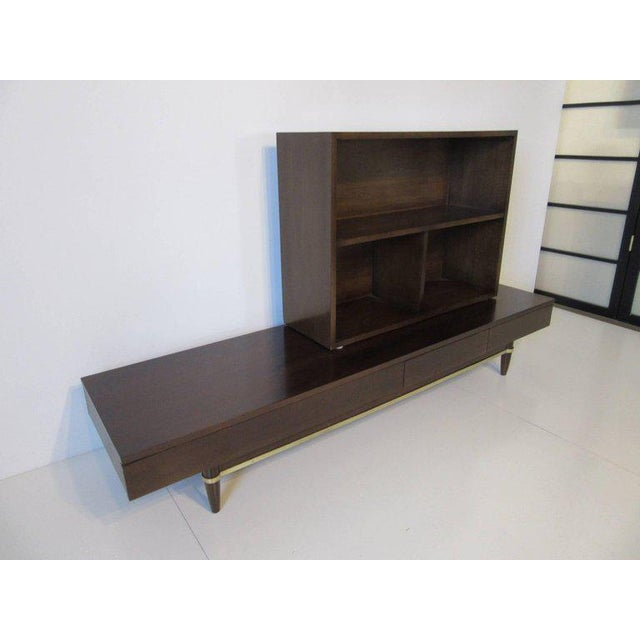 Mid-Century Modern American of Martinsville Ebony and Brass Platform Bookcase For Sale - Image 3 of 7