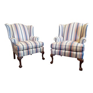 Pair of Lee Industries Wingback Chairs For Sale